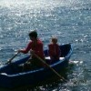 woman and child in row boat