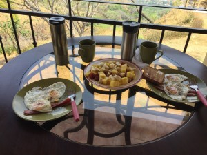 Sunday brunch with farm fresh eggs and fruit salad. Coffee, of course!